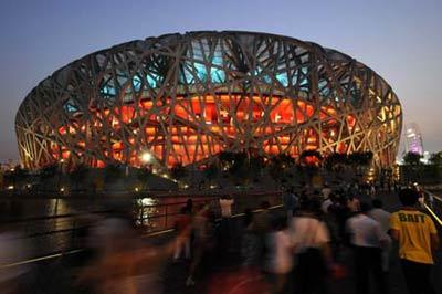 Photo taken on Aug. 5, 2008 shows the National Stadium, nicknamed the Bird's Nest, in the evening in Beijing, China. Beijing witnessed a fine weather Tuesday. (Xinhua/Guo Lei)