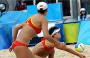 China´s Tian/Wang net 2nd preliminary win in beach volleyball
