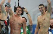 Men´s 4 x 200m Freestyle Relay: Phelps leads record relay