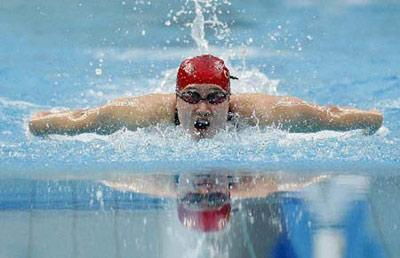 Liu Zige of China competes during the final of women's 200m butterfly at the Beijing 2008 Olympic Games in the National Aquatics Center, also known as the Water Cube in Beijing, China, Aug. 14, 2008. Liu Zige won the gold medal in a new world record with 2 minutes 04.18 seconds. (Xinhua/Fan Jun)