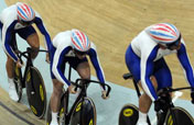 Britain beats France to win cycling team sprint gold