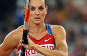 Russia´s Isinbaeva retains Women´s Pole Vault gold