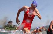Men´s triathlon event underway