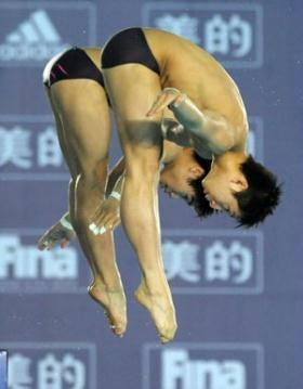 China's Huo Liang and Lin Yue compete during the men's 10m platform synchronised final at the second leg of four-stop FINA Diving World Series in Changzhou, a city of east China's Jiangsu Province, on March 27, 2009. Huo and Lin claimed the title with a score of 484.92 points. (Xinhua/Yang Lei)