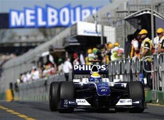 Williams Formula One driver Nico Rosberg of Germany speeds down the pit lane during the third timed practice session for the Australian Formula One Grand Prix auto racing at the Albert Park racetrack in Melbourne, Australia, Saturday, March 28, 2009.  (AP Photo/Oliver Multhaup)