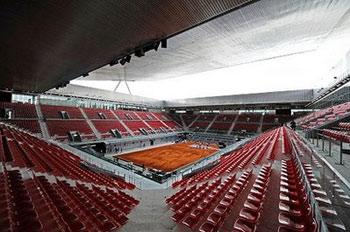 A view in Madrid of the Magic Box (La Caja Magica) arena by French architect Dominique Perrault, newly built to host the Madrid Combined Tennis Tournament which will take place from May 08 to 17,2009.AFP/Javier Soriano)
