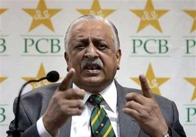 Pakistan's Cricket Board Chairman Ejaz Butt gestures during a press conference in Lahore, Pakistan, Saturday, May 9, 2009. Pakistan wants to take the International Cricket Council to the Court of Arbitration for Sport over being stripped of its co-hosting status for the 2011 World Cup. (AP Photo/K.M. Chaudary)