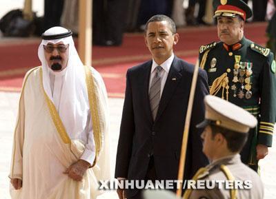 ObamawaswelcomedbyKingAbdullahofSaudiArabiaatRiyadh'smainairportonWednesday.